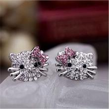 Wholesale 1Pair Crystal Cat Stud Earrings Cute Rhinestone Hello Kitty Earrings bow-knot KT jewelry for woman(China)