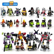 16pcs/lot Transformation Figure 4pcs large Car Robot Uranos/Onslaught/Predaking/Devastator 4 in 1 action figure block toys
