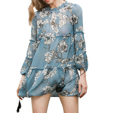 New Women pretty Dress Lady Fashion Floral Printed Flower full Sleeves Soft Mini Dress high quality(China)