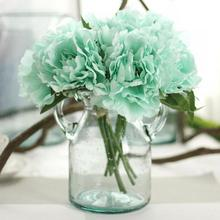 Artificial Flowers Peony Bouquet for Wedding Silk Flower Hydrangea 5 Heads For Home Party Decor Autumn Fall Vivid Fake Flower(China)
