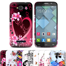 1 Pcs/lot Soft Butterfly Flower Design Cell Phones Case Cover Skin For Alcatel One Touch Pop C7