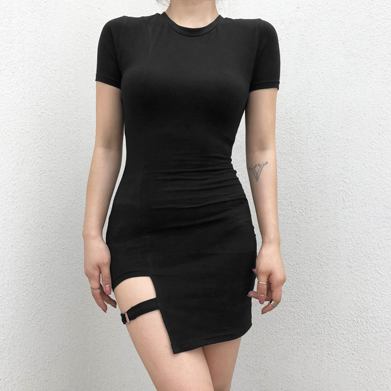 7Sweetown Black Round Neck Bodycon Dress Women 2018 Summer Sexy Club Dress Female Asymmetrical Party Dresses Elegant Vestidos