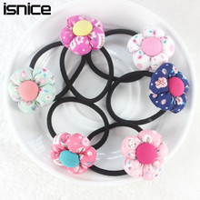 TS New 2015 Pumpkin flowers children Retail wholesale Boutique girls hair accessories rubber bands barrettes girl headwear