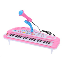 37 Keys Cartoon Mini Electronic Keyboard Piano Music Toy with Microphone Educational Electone Gift for Children Babies Beginners(China)