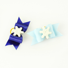 Armi store  Handmade Accessories Snow Light Blue Ribbon Dog Bow 6025013 Resin Flower Christmas Pets Bows