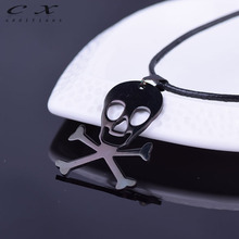 2017 Fashion Stainless Steel Black Skulls Gun Black Pendant Necklace Best Gift For Boyfriend Trend Black Rock Chain Necklace