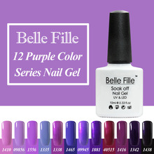 Belle Fille 10ml 12 Purple Color Nail Art Decorations For Nails UV Led Gel Fashion Nail Gel Single Color UV Led Gel Nail Polish