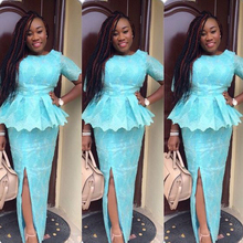 Beautiful Lace Aso Ebi Style Evening Dress Nigeria Sexy Split Peplum Sky Blue Long Prom Dress 2017 New South African Formal Wear