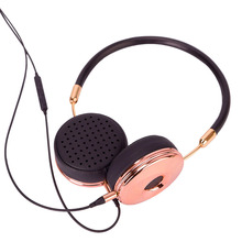 New Fashion Wired Headband HiFi Headphones Portable Rose Gold Headset Fone De Ouvido for MP3 Player Mobile Phone with Bag BH870(Hong Kong,China)