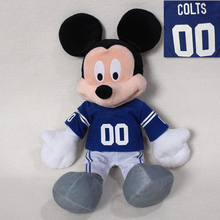 free shipping 40cm Original NFL Mickey Mouse plush soft doll, Indianapolis Colts Rugby uniforms Mickey Mouse toys for boy toys