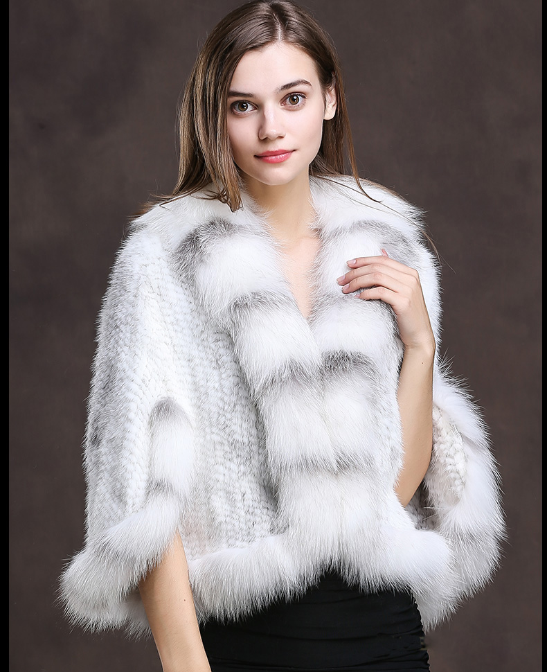 Winter Shawl Wrap Poncho Real Knit Mink Fur shawl With Fox Trimming Real fur Jacket coats party 2017 new (22)