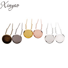 10pcs/lot Copper 6colors Inner Size 10/12/14mm Blank U Hairpins Base Hair Clip Tray Photo Glass Cabochon Cameo Settings K0433