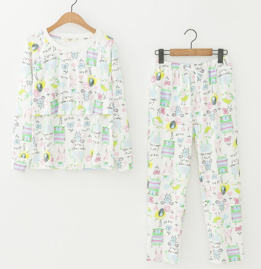 Nursing breastfeeding clothes Tops and Pant Long Sleeve cute cartoon Cozy Maternity clothing Pregnancy Autumn winter wear  <br>