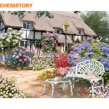 CHENISTORY 2017 Garden Landscape DIY Painting By Numbers Modern Abstract Wall Art Picture Handpainted Oil Painting Home Decor(China)