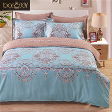 Flowers Europe Style Double Bedding Set Light Blue And Brown Bed Cover Quilt Jacquard Duvet Cover(China)