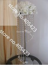 10pcs/lot 60cm acrylic crystal wedding backdrop road lead flower T-stand chandelier centerpiece frame decoration(without flower)