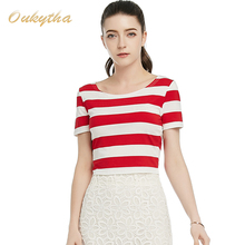 Oukytha 2017 Summer Fashion Sexy Club shirt O-Neck Cotton Stripe Slim Short Tops Sexy Navel Red and White stripe T shirt S16147