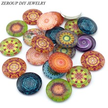 ZEROUP Glass Cabochon 10mm 12mm Mixed Pattern Cameo Round Cabochon Base Supplies for Jewelry Accessories Handmade Pictures 50pcs