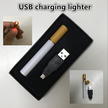 2017 new free USB electronic cigarette lighter mini cigarette shape charging lighters power rechargeable flameless put into case(China)
