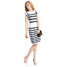 womens clothing black and white waves striped dress round neck cut out bare shoulder short sleeve knee length women dress casual