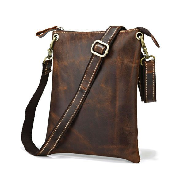Dark Brown Tablet Read Accessorie Holder Messenger Across Body Bag