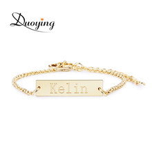 DUOYING Brand Baby 25*6 mm Bar Bracelet Custom Engraved Name Bracelet Personalized Initial Bracelet For Baby Etsy eBay Supplier(China)