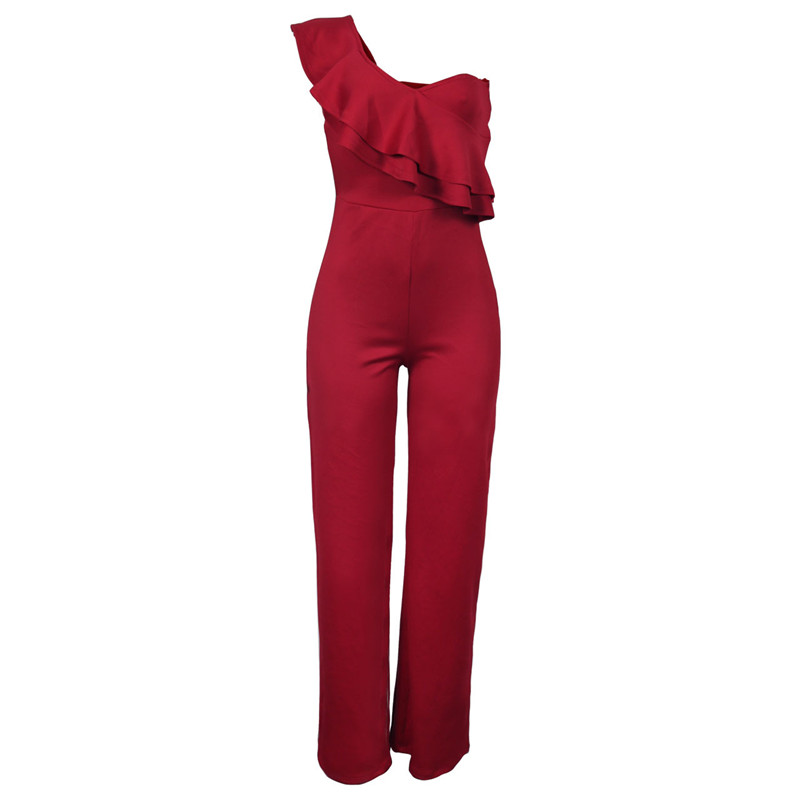 sexy red one shoulder ruffles long jumpsuit-1