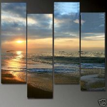 Huge 4 Panel Sunset Sea Beach Ocean Wave Landscape Oil Painting on Canvas 100% Handprinted Contemporary Art, Modern Wall Decor