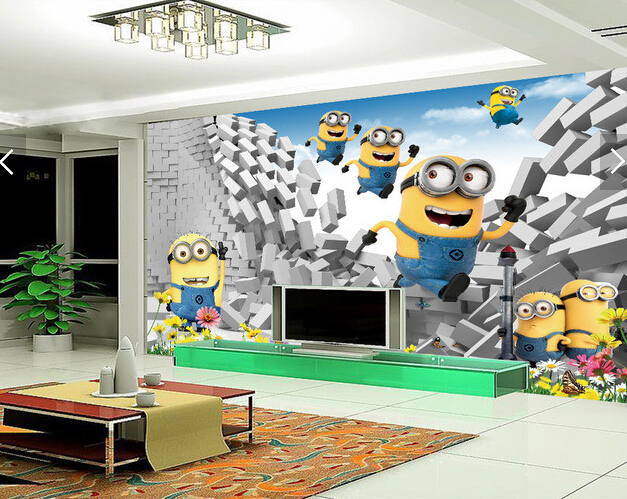 Custom wallpaper animation, 3D cute little yellow man cartoon murals for childrens room living room bedroom backdrop wallpaper<br>