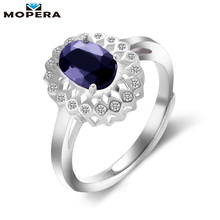 Mopera 0.95ct Oval Natural Sapphire Ring Genuine 925 Sterling Silver Jewelry For Women Princess Diana Wedding Engagement Rings(China)