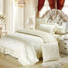 6pc/4pc Silk satin cotton blend luxury bedding set king queen duvet cover sets wedding white bedspreads(China)