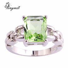 lingmei $0.99 Big Promotion Wholesale Green Purple AAA CZ Silver Color Ring Size 6 7 8 9 10 11 Women Chic Popular Party Jewelry(China)