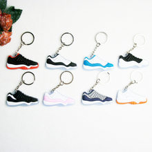 Mini Silicone Sneaker Jordan 11 Keychain Key Chain Shoes Car Key Holder Woman Men Bag Charm Accessories Key Rings Pendant Gifts