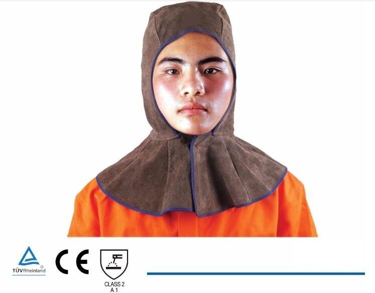 Leather Welder Hood Welding Cap Hat Split Cowhide Cotton Mesh Lining KEVLAR Stitched 39X50 Brown Color CE UL<br><br>Aliexpress
