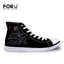 FORUDESIGNS 2018 New Arrival Zodiac-Serie Women Vulcanize Shoes Black Female Brand Designer Leisure Canvas Shoes High Top Shoes(China)