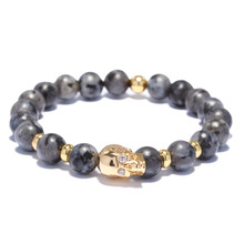 Luoty Women Men Vintage Strand Bracelet 8mm Snake Skin Color Stone CZ Skeleton Head Charm Bracelet Bangles Skull Elastic Jewelry(China)