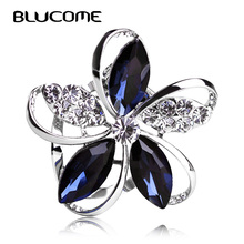 Blucome Gorgeous Blue Crystal Flower Brooches For Women Kids Hats Scarf Buckles Zircon Jewelry Party Corsages Suit Pin Clips(China)