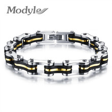Modyle Fashion Stainless Steel Silicone Bracelets Biker Bicycle Motorcycle Men Jewelry Accessories(China)