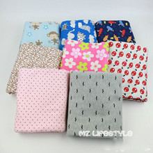 Buulqo Stretchy printed Lovely baby cotton knitted fabric DIY sewing baby cotton jersey fabric for clothing 50*170cm(China)
