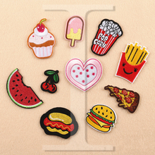 1 PCS ice cream Patches for Clothing DIY Stripes parches Iron on Embroidered Clothes Fruit Stickers Custom Hamburg Badges