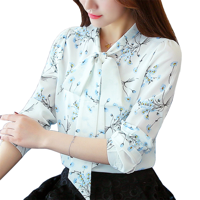 Womens Long Sleeve Tops and Blouses Spring Female Print Shirts Ladies Fashion Autumn Chiffon Blouse White Office Shirt For Women(China)