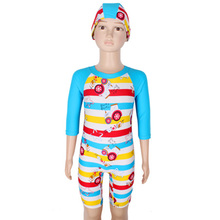 Children Swimwear One Piece Half Sleeve For Boys Diving Suit Swimsuits Bathing Suits Printed Rash Guards Beach Wear With Hat