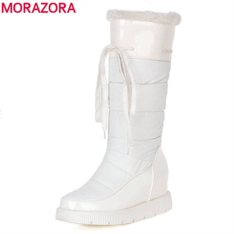 MORAZORA Plus size 34-43 new half snow boots patent leather down women boots round toe mid calf winter shoes woman black white<br><br>Aliexpress