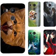 Cute Cat Girl Angel Painting Hard Plastic Case for LG Angler H79 Nexus 5X phone Case Cover for LG Google Nexus 8 Cell Phone Bags(China)