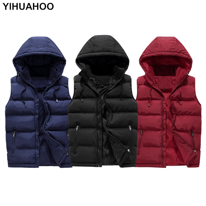 YIHUAHOO Casual Vest Men 5XL 6XL Cotton Padded Sleeveless Winter Jacket Men Thick Warm Parka Coat Male Waistcoat Men QCC-0608
