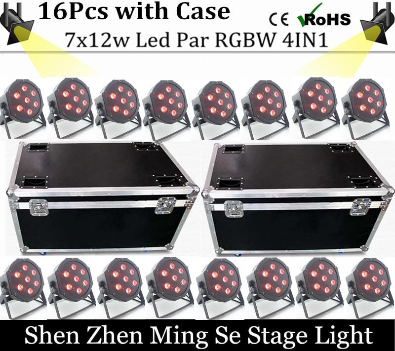 16pcs /lots 7x12w led Par lights  RGBW 4in1 flat par led dmx512  disco lights professional stage dj equipment with flight case<br><br>Aliexpress