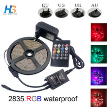 Waterproof RGB Flexible LED Strip 5M 10M 15M 20M SMD +Music Controller +12V Power Adapter Home Decoration Lamps full set(China)