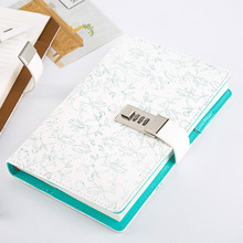 Mini Faux Leather A5 School Notebook Password Lock Diary Codebook Printed Business Travel Planner Organizer Personal Diary Books(China)