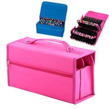 Multi-Layer High Capacity Carrying Markers Storage Bags 80 Slots Pens Holder Portable Bag(China)