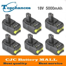 6PCS High Capacity New 18V 5000mAh Li-Ion For Ryobi Hot P108 RB18L40 Rechargeable Battery Pack Power Tool Battery Ryobi ONE+